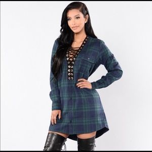 Fashionnova plaid tie up dress never been worn